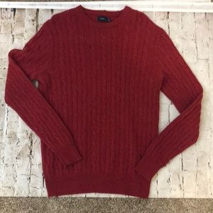 JCrew Lambs Wool Cable Knit Sweater Size M Red